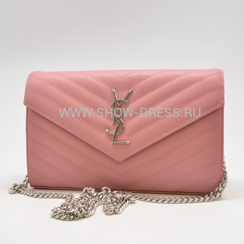 Сумка Saint Laurent Monogram Envelope mini розового цвета LE-433